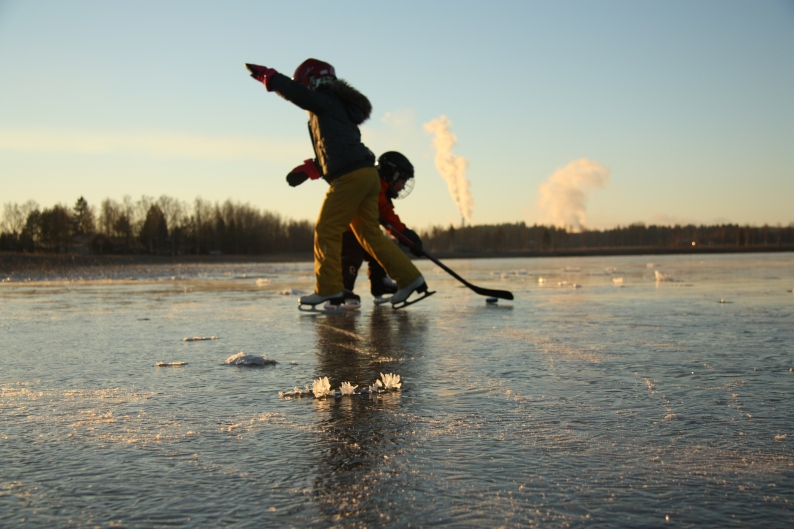 skating on the lake in Finland